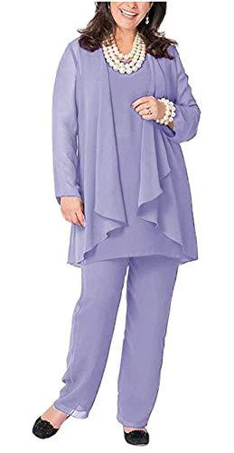 Women's 3 PC Chiffon Pants Suit Outfit Plus Size Dress Suit for Mother of The Bride Evening Gowns Lavender US26W