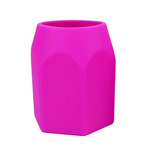 cuiyoush Titular de la olla de silicona Pnecil titular de la taza de escritorio geométrico maquillaje cepillo pote de escritorio organizador de escritorio para escritorio de oficina rosa rojo