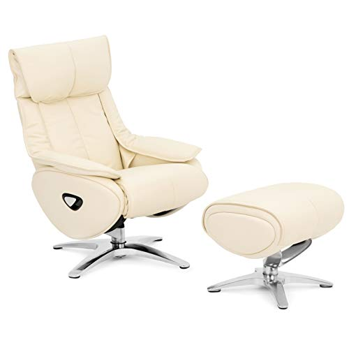 COMIFORT Sillon Relax de Piel con Reposapies. Modelo Mockingbird. Reposacabezas Regulable en altura y angulo, Sillon Ergonomico Giratorio 360 y Reclinable con Autoretorno, Reposapies Ajustable. Blanco