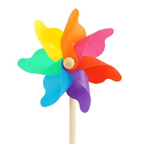 CIM Windspiel - Moulin 14 Rainbow - UV-beständig und wetterfest - Windrad: Ø14cm, Standhöhe: 32cm - fertig aufgebaut inkl. Standstab (Rainbow)