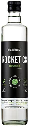 BRAINEFFECT Rocket Veganes MCT Öl C8 - Octane MCT Oil Extrakt aus Kokosöl (100% Caprylsäure), MCT Öl C8 - Ideal für ketogene Ernährung, Bulletproof Coffee, Smoothies & Dressing - MCT-Öl in 500ml