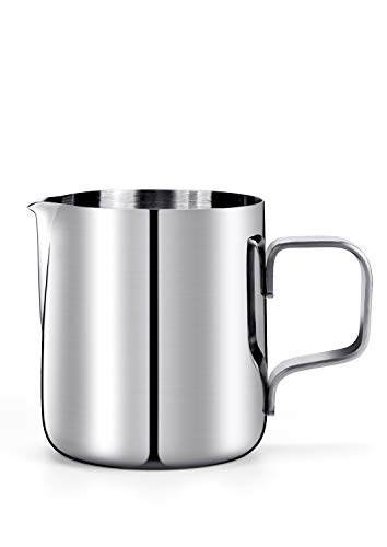 HULISEN 6.8oz/ 200ml Milk Pitcher, Stainless Steel Espresso Latte Steaming Frothing Pitcher, Coffee Milk Frother Maker, Pour Cup