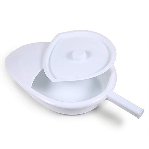 GHzzY Plastic Bedpan glad met deksel en handvat - Draagbare Bed Pans voor Bedridden Patiënt voor Mannen en Vrouwen (wit)