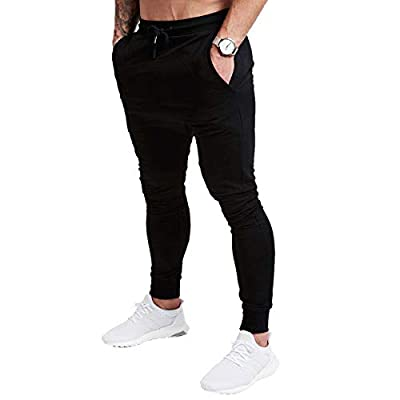A WATERWANG Men's Slim Jogger Pants, Tapered Athletic Sweatpants for Jogging Running Exercise Gym Workout Black