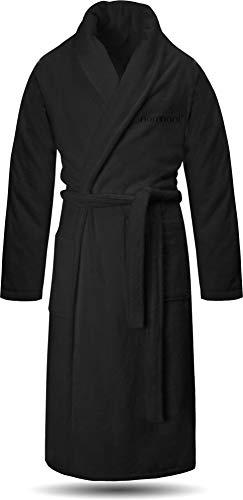normani 100% Baumwoll Bademantel Saunamantel zweifarbig und einfarbig mit und ohne Kapuze für Damen und Herren (Gr. XS - 4XL) Farbe Schwarz Größe L