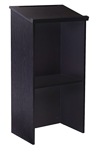 AdirOffice Stand up, Floor-Standing Podium, Lectern with Adjustable Shelf and Pen/Pencil Tray (Black)