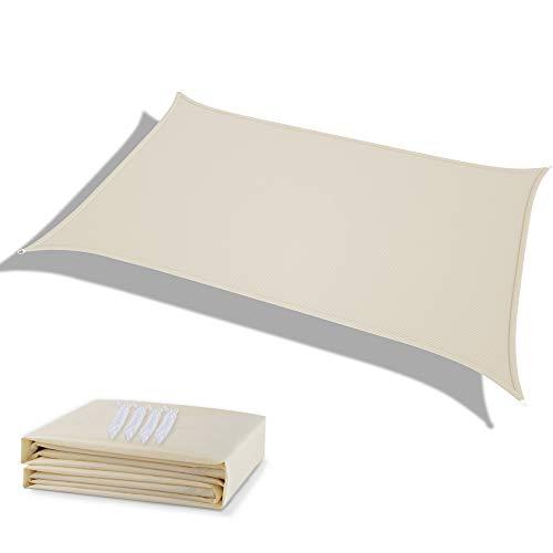 Deepee Tenda A Vela Parasole 3×4M Rettangolare, Realizzato In Poliestere Di Alta Qualità, 95% UV Protezione E Impermeabile, Per Giardino, Struttura Esterna E Attività, Bianco Crema