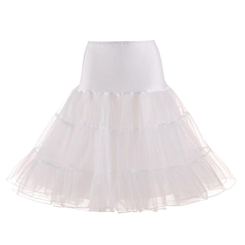 SHOBDW Caliente!Disfraz de Carnaval Mujeres Plisadas Falda de Gasa tutú Retro Rockabilly Enaguas miriñaques Faldas Faldas de Baile para Adultos (Blanco, S)