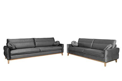 MOEBLO Polstergarnitur Ohrensofa 3 Sitzer und 2 Sitzer Sofa Couch Garnitur Stoff Samt (Velour) Glamour Wohnlandschaft - Estela (Grau)