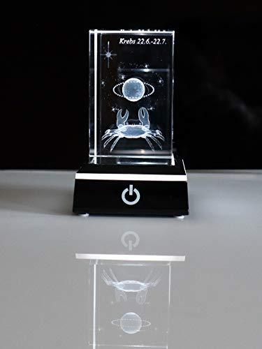 C-Kom 3D Sternzeichen Krebs personalisiert Glaskristall Glasgravur Kristallglas Geschenke