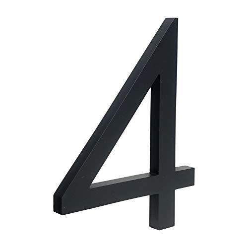 HASWARE Número de casa flotante de 6 pulgadas (15 cm) Números de puerta con estilo Placa del alfabeto Números de dirección de casa de la calle (4, Negro)