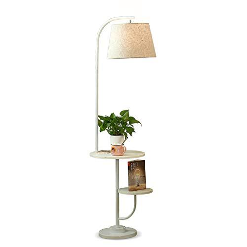 QTDH Gooseneck dimbare vloerlamp Nordic salontafel vloerlamp met USB-aansluiting moderne staande led-leeslamp met eindtafel ingebouwd in-laadstation