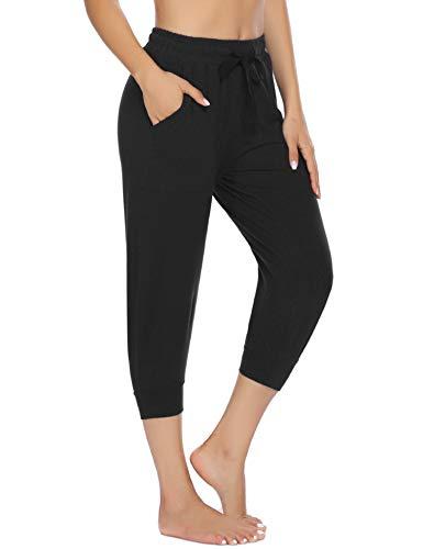 COOrun 3/4 Lang Jogginghose Schwarz Damen Sporthose Modern Trainingshose mit Taschen Capri Sweathose Schwarz S