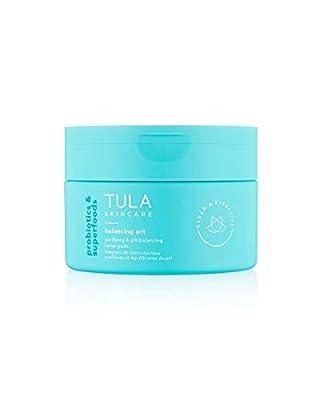 TULA Probiotic Skin Care Balancing Act Purifying & pH Balancing Toner Pads   Gentle, Alcohol Free, Refreshing Pad to Lift Impurities & Purify Skin   60 Pads