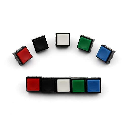 Jgzwlkj Interruptores basculantes 10pcs pb13 Cuadrado 12 * 12 mm momentáneo 2Pin Off-MOM SPST PCB Mini pulsador Haga Clic en el Interruptor (Color : 10Pcs Blue)