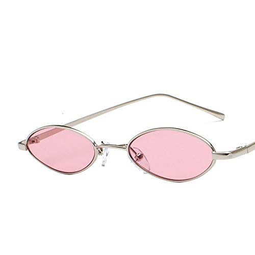 Moda Gafas De Sol Nuevas Gafas De Sol Ovales Unisex Espejo Plano Retro Gafas De Sol De Metal Fino Gafas De Sol con Montura Ovalada Gafas De Sol Ocean Film Gafas C1