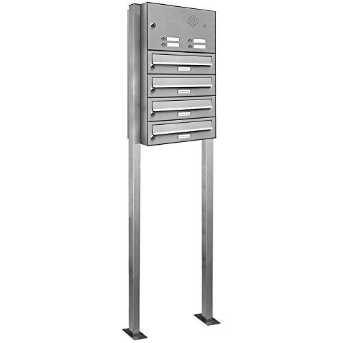 AL Briefkastensysteme 4er Briefkasten mit Klingel als Standbriefkasten, 4 Fach Briefkastenanlage in Edelstahl rostfrei Postkasten modern