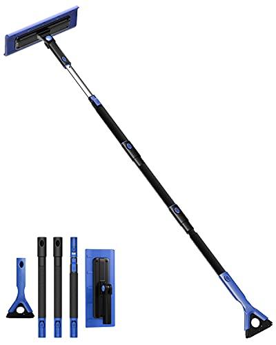 JOYTUTUS 61  Snow Broom and Ice Scraper Extendable Foam Car Snow Brush, Scratch Free, Foam Grip, Auto Window Windshield Snow Removal Brush for Car, SUV, Truck(Blue)