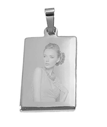 Dogidogs Schmuckanhänger mit Gravur Fotogravur aus poliertem Edelstahl Rechteck Silber einseitig