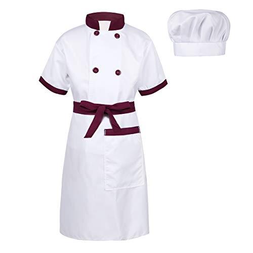 Freebily Unisex Kinderkostüm Koch Kostüm Chef Outfit Jungen Mädchen Kurzarm Jacke + Schürze + Mütze Set für Halloween Cosplay Kostüm Burgundy&Weiß 128-140/8-10Jahre