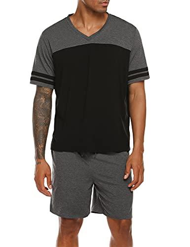 Ekouaer Men Pajama Shorts Set Short Sleeve Sleep Set V-Neck PJ Set 2 Piece Set Sleepwear Nightwear with Pants S-XXXL