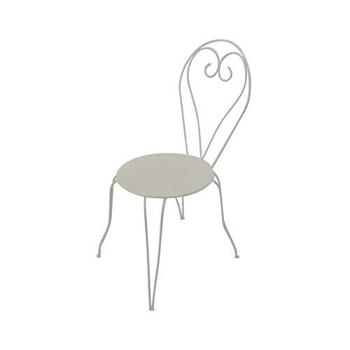 Lot de 4 Chaises de jardin romantique empilable en fer forgé - Blanc