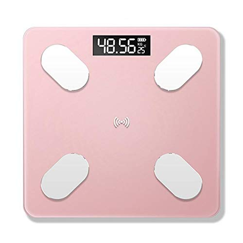 CHENTAOCS Badkamer Bluetooth Scales weegschalen Body Smart Electronic Digital Gewicht Vloer van het huis Balance gehard glas LCD-scherm (Color : Pink Battery)