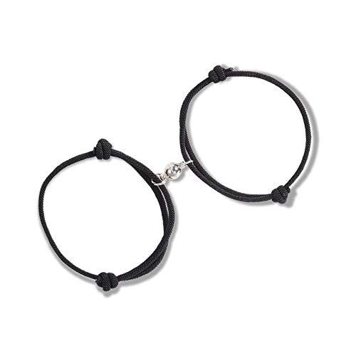 VU100 2PCS Paar Magnet Armband Set Gegenseitige Anziehung Seil Geflochtene Charm Anhänger Unisex Armband Passende Geschenk Schmuck Set für Frauen Männer