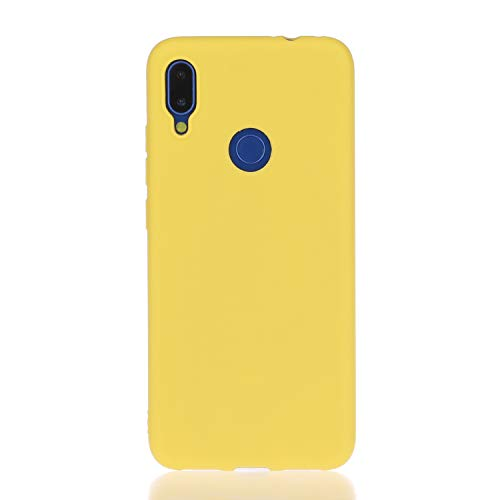 ChoosEU Compatible avec Coque Xiaomi Redmi Note 7 Silicone Bumper Souple Motif Mat beauté Etui Soft Étui Antichoc Design Mignon Ultra Fine Mince Slim Housse Case Protection - Jaune