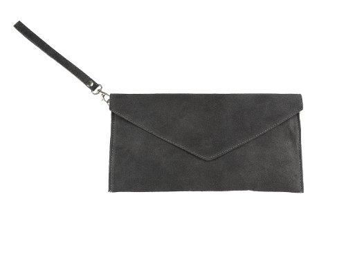 scarlet bag | Umhängetasche aus Wildleder Leder | Damen Handtasche Tasche Henkeltasche; 31,5 x 16,5 x 1,0 cm (anthrazit)