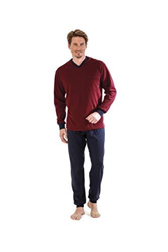 hajo Herren Pyjama Schlafanzug 50022 302 Bordeaux Klima Light, Größe:54 / XL