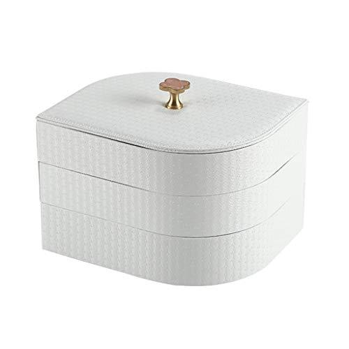 Joyero Caja De Joyería con Tapa De Latón con Forma De Hoja De Hoja 3 Capas Organizador De 3 Capas Caja De Joyería De Cuero De Alta Regalo de joyería (Color : White)