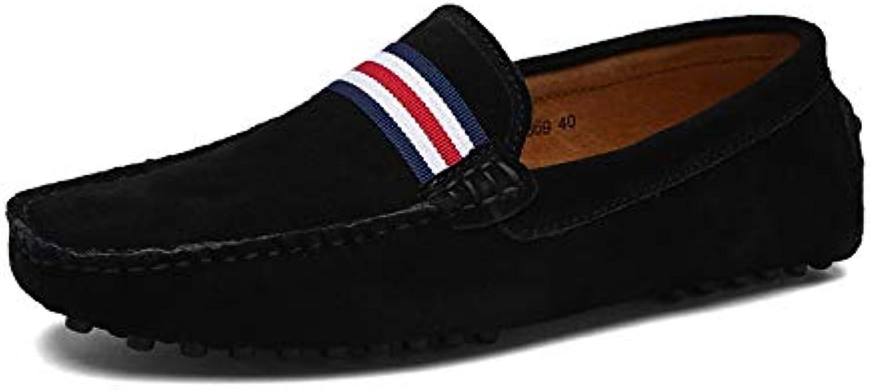 British Casual shoes Four Seasons Single shoes Men's Leather Peas shoes Men's shoes Set Foot shoes (color   Black, Size   41)