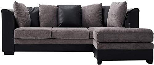 YRRA Sofá de imitación de Cuero y Tela de 3 plazas Sofá de Esquina con Tool de Mano L del sofá con Forma de sofá Sofá SetEse Izquierdo o Derecho Sofá Gris y Negro