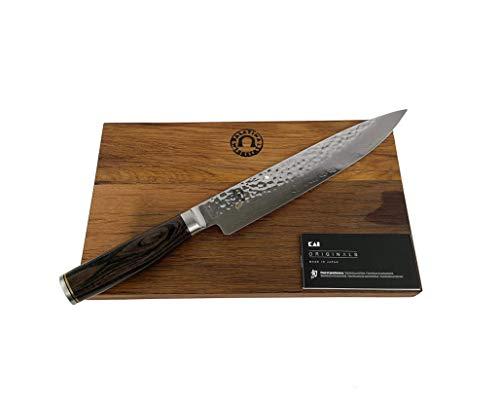 Kai Shun Premier Tim Mälzer TDM-1704 Cuchillo japonés ultra afilado, cuchillo de acero de Damasco | + tabla de cortar sólida de madera de barril 30 x 18 cm | precio de venta: 255 €