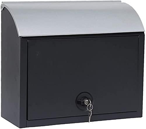 Compact Buzón Individual de Acero ,Buzones de par Caja de poste de poste montada en la pared, caja de correos a prueba de agua al aire libre, caja de correo del puerto de entrega de Claamshell con 2 l