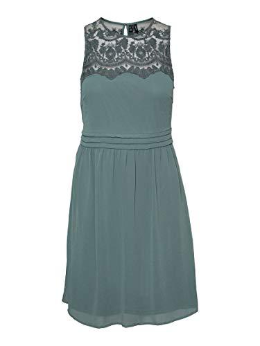 VERO MODA Damen VMVANESSA SL Short Dress WVN RPT Kleid, Ivy Green, S