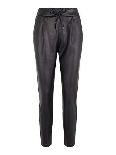 Vero Moda Vmeva Mr Loose String Coated Pant Pantalones, Negro (Black Black), 38/L30 (Talla del Fabricante: Medium) para Mujer