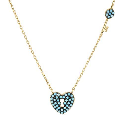 LATELITA Key to My Lock Heart Necklace Turquoise Gold