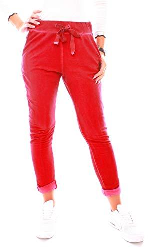 Easy Young Fashion Damen Hose Jogginghose Lang Sporthose Vintage Freizeit Sweatpants Baumwolle Rot S 36 (M)