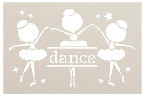 Dance Ballerina Silhouette Stencil by StudioR12 | DIY Little Girl Star Home Decor Gift | Craft & Paint Wood Sign Reusable Mylar Template | Select Size (9 inches x 6 inches)