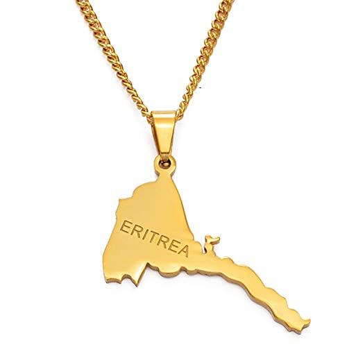Collares Mapa de Eritrea Collares pendientes Cadena Mujeres Hombres Mapa de Eritrea Color dorado Joyería africana Collar de Etiopía-Cadena de color dorado_60cm
