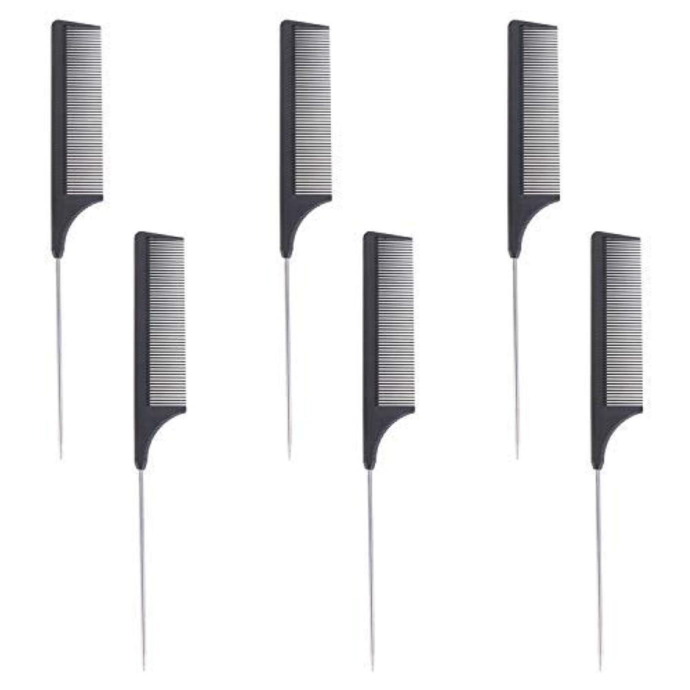 いとこハイランド過剰6 Pieces Comb Black Tail Styling Comb Chemical Heat Resistant Teasing Comb Carbon Fiber Hair Styling Combs for Women Men Hair Types Styles [並行輸入品]