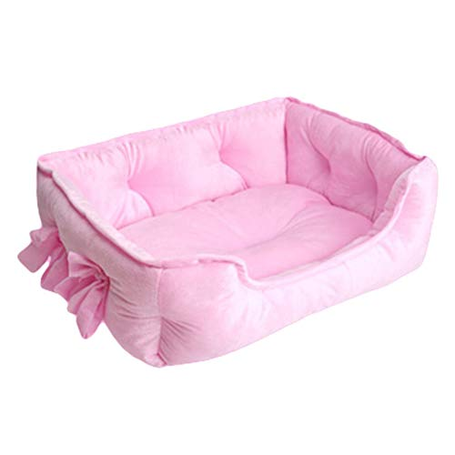 FINIVE Haustierbett Hundebett Katzenbett Plüsch Hundesofa Katzensofa Kissen in für Haustiere (Katzen und kleine Hunde) - Pink L