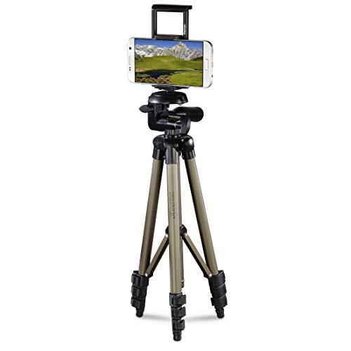 Hama Stativ für Handy und Tablet (Stativ mit Halterung für Selfies, 3D Stativkopf drehbar und neigbar im Quer- und Hochformat, ideal für Videoaufnahmen, Handys bis 8,2cm/Tablets bis 18,5cm Breite)