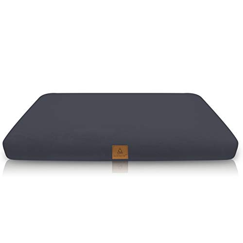 Zabuton Meditation Cushion - USA Buckwheat Hulls in 10 Color Organic Cotton; Square Yoga Pillow Case & Zipper Liner To Adjust Volume; Match Zafu or Crescent Set For Men & Women (Gray)