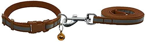 IOUYRRN 7 Colores Nylon Reflective Dog Collar de Perro Caminar Leave Set Set Ajustable para PEQUEÑOS Perros Medios Puppy Chihuahua Yorkie S M-Red_M. (Color : Brown, Size : M.)