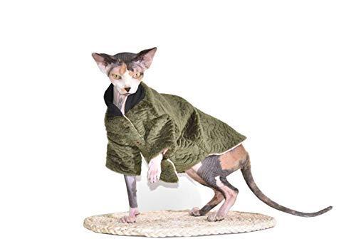 Khemn Designer Warmer Katze Daunenjacke Katze Mantel mit Dicke Baumwolle-Best für Haarlose Katze, 6 Farben (M+, Grün)