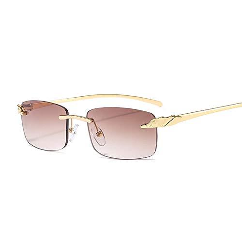 Astemdhj Gafas de Sol Sunglasses Gafas De Sol De Guepardo Sin Montura A La Moda para Mujer, Gafas De Sol Rectangulares Pequeñas para Hombre Y Mujer, Diseñador De Marca De Lujo, EsAnti-UV