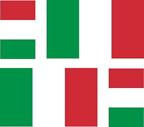 Akacha - 4 Adesivi per Auto e Moto, Motivo: Bandiera dell'Italia